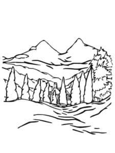 елки и горы детская раскраска