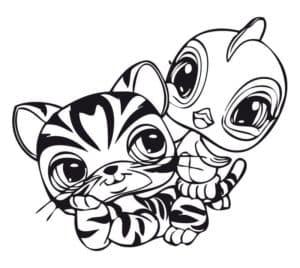 тигр и птичка из литл пет шоп