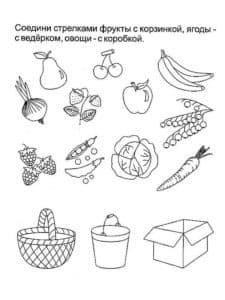 соедини предметы и продукты