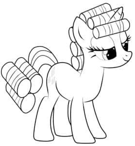 пони с завитым хвостом и гривой