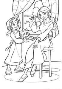 Мама с дочкой кушают торт