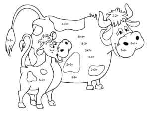 корова и теленок математическая раскраска