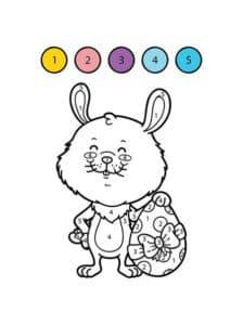 раскраска зайчик с яйцом по номерам