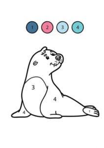 раскраска тюлень по номерам для детей