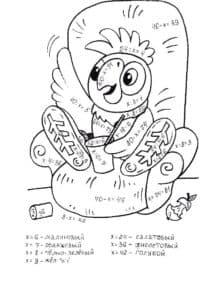 попугай на кресле раскраска математическая