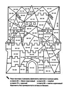 замок раскраска с уравнениями