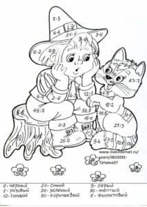 Девочка в шляпе математическая раскраска