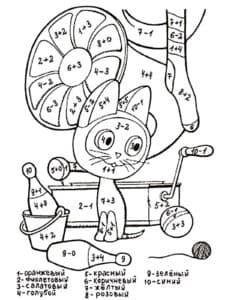 кот математическая раскраска