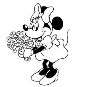Минни Маус с букетом