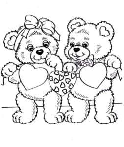 Два медвежонка с сердечками раскраска детская