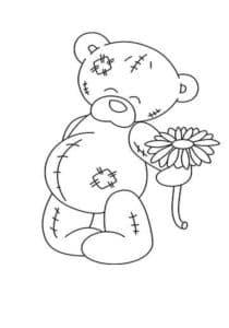 Медвежонок с ромашкой раскраска для детей