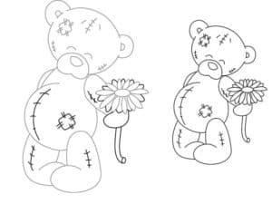 Два медведя с цветками