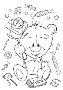Медвежонок с розой и конфетами