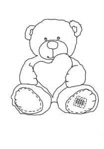 Медведь держит сердце раскраска