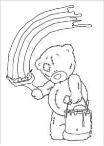 мишка Тедди рисует радугу
