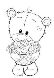 мишка Тедди с корзинкой цветов