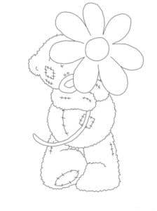 мишка Тедди с большой розой