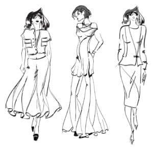 раскраска модель в платье