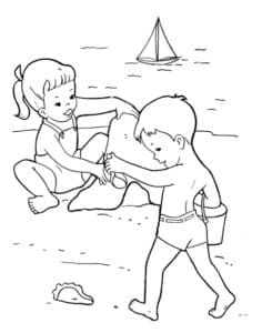 Мальчик с девочкой на море
