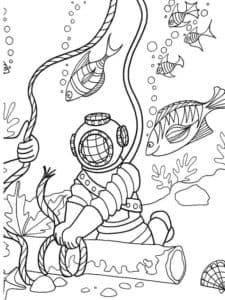 аквалангист раскраска