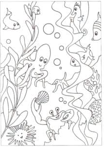 морские обитатели детская раскраска