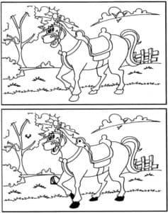 лошадка найди отличия раскраска
