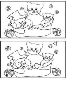 котята найди отличия детская раскраска