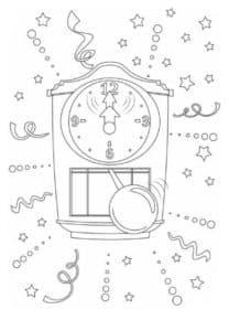 новогодние часы и серпантин