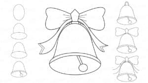 новогодние колокольчики с бабочкой и лентой