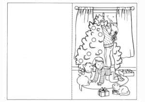 открытка елка и дети