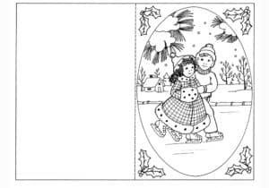открытка дети на катке
