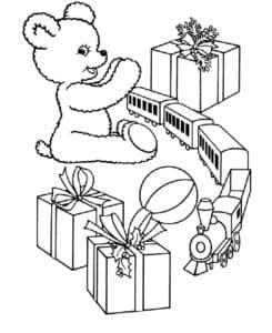 медвежонок паровоз и подарки