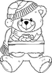 раскраска медвежонок с подарком