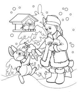 раскраска новогодняя сказка