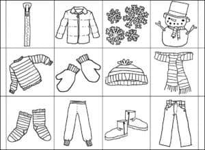 раскраска одежда для ребенка