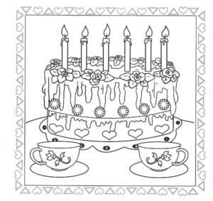 Большой торт и чашки