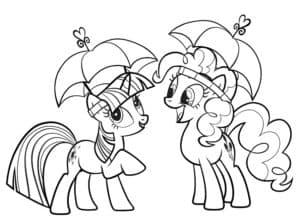 Две пони под зонтиками