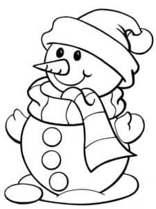 снеговик с шарфом и шапкой
