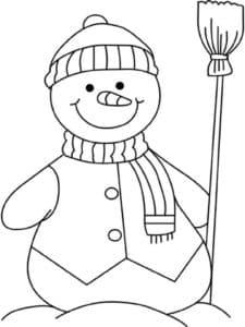 снеговик в шарфе с шапкой и метлой