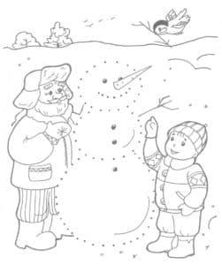 снеговик раскраска по точкам