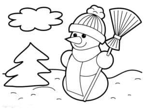 снеговик елка и облако