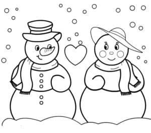 бабушка и дедушка снеговик