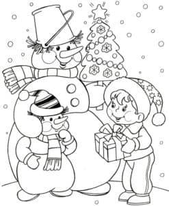 снеговики и мальчик с подарком