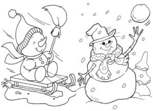 снеговик на санках