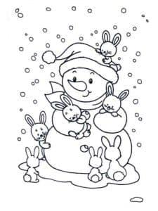 Снеговик с зайчиками