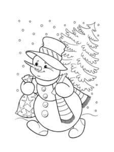 снеговик с мешком подарков