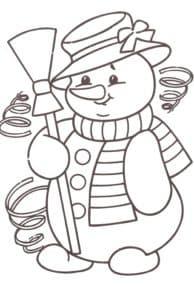 снеговик в шляпе с бантиком
