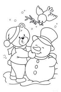 медвежонок птичка и снеговик