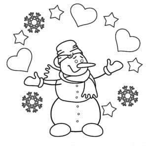 снеговик сердечки и снежинки