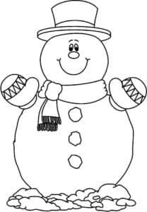 Большой снеговик в варежках
